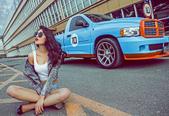 dodge ram, women, girl, model, brunette, sunglasses, red lips, dodge, cars wallpaper