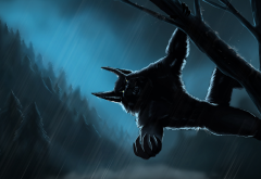 forest, night, rain, forest, werewolf wallpaper