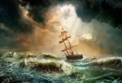 storm, sailboat, sky, sea, dark clouds, clouds wallpaper