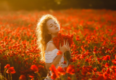 field, girl, flowers, women, mood, poppies, poppy, bouquet wallpaper