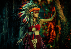 women, girl, nature, trees, skirt, feather, makeup, costume wallpaper