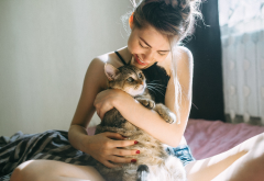 morning, girl, cat, women, mood, smile wallpaper