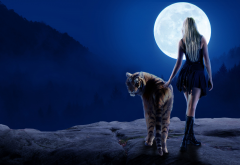 tiger, girl, women, fantasy, art, moon wallpaper