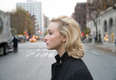 sarah gadon, actress, women, blue eyes, blonde, street wallpaper