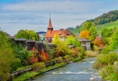 autumn, landscape, switzerland, river, nature, city wallpaper