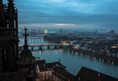 basel minster, basel, switzerland, evening, city, home, bridge wallpaper