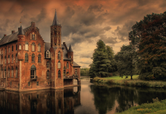 pond, trees, castle, clouds wallpaper
