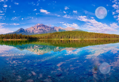 sky, mountains, lake, forest, reflection, nature, canada wallpaper