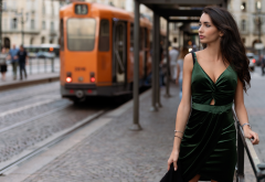 luigi malanetto, women, model, portrait, brunette, dress, cleavage, hoop, tram wallpaper