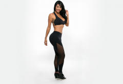 aline bernardes, leggings, smile, black hair, tanned, sport, fintess model, women wallpaper
