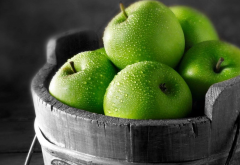 apple, dew, water dops, green apple, fruit, food wallpaper