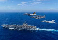 uss carl vinson, cvn-70, aircraft carrier, ship, aircraft, sea, boeing fa-18e, super hornet, f-18, mcdonnell douglas, av-8b, harrier 2, fa-18c, hornet wallpaper