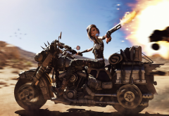 anime, fantasy, bike, gun, fire, biker, mad max, art wallpaper