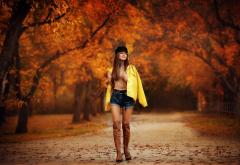 women, girl, posing, park, autumn, shorts, nature, boots wallpaper