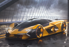 lamborghini terzo millennio, supercar, concept, cars, lamborghini, yellow car, bridge wallpaper