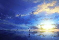3d, art, sea, reflection, anime, fantasy wallpaper