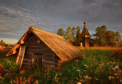 nature, village, hut, house, church, grass, sunset, clouds, russia wallpaper