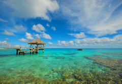 rangiroa, atoll, french polynesia, topics, boat, sea, ocean, nature, pier, clouds, nature wallpaper