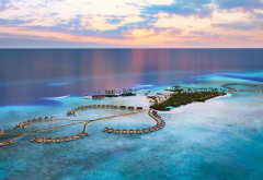 ocean, evening, sunset, maldives, tropical island, luxury hotel, bungalow, sea, nature wallpaper