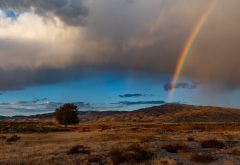 rainbow, landscape, nature, clouds wallpaper