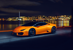 lamborghini huracan lp580, lamborghini huracan, lamborghini, cars, night, city, orange car wallpaper