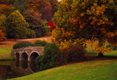 stourhead, stourton, england, autumn, park, bridge, nature, tree wallpaper