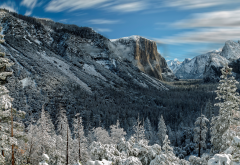 yosemite, mountains, forest, trees, rocks, snow, winter, nature wallpaper