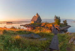 landscape, sea, stones, grass, island, house, morning, russia, rabocheostrovsk, republic of karelia, karelia wallpaper