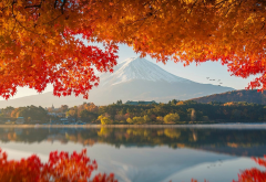 japan, autumn, beautiful, nature, mountains, fuji, mount fuji, reflection wallpaper