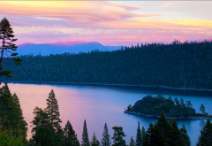 lake tahoe, lake, usa, nature, landscape, river, forests, island, dawn, morning wallpaper