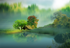 art, nature, landscape, lake, trees, house wallpaper