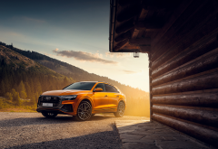 martin cyprian, audi q8, cars, mountains, car, audi, orange car wallpaper