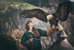 women, girl, bird, eagle, bald eagle wallpaper