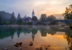 nature, landscape, river, bridge, fog, church, sunset wallpaper