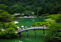 japan, nature, park, garden, pond, trees, bush, bridge wallpaper