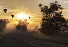 sunrise, road, balloon, trees, fog, nature, hot air balloon wallpaper