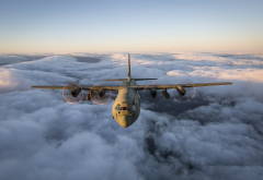 lockheed, c-130 hercules, c-130, plane, flight, aircraft, aviation, clouds wallpaper