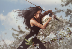 warrior, katana, fantasy, sword, women, girl, art wallpaper