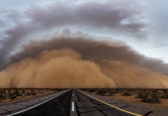 road, storm, sand, sandstorm wallpaper