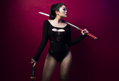 girl, weapons, sword, katana, bodysuit, brunette, asian, women wallpaper