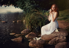 white dress, redhead, dress, river, flowers, rocks wallpaper