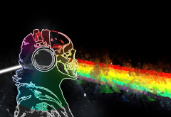 skull and bones, Pink Floid, rainbows, rainbows, Prisma, music wallpaper